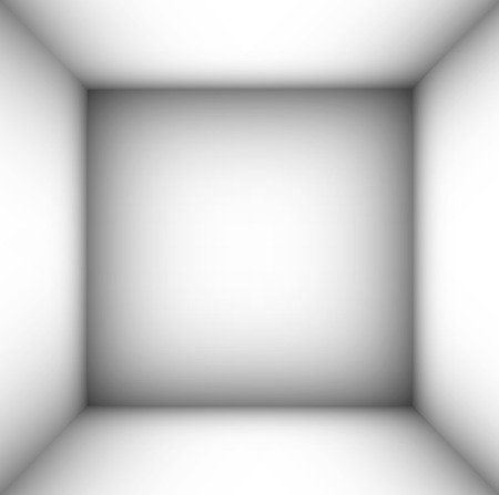 madness: square empty room with shaded white walls