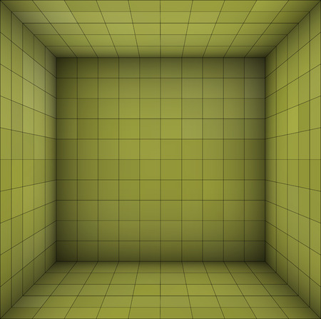 green walls: empty futuristic room with green walls and subdivision Illustration