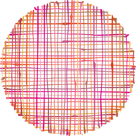 raster artistic: circular hand-drawn liquid pink orange stripe grid pattern over white