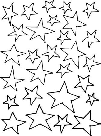 stellar: liquid line irregular stars hand drawn over white Illustration