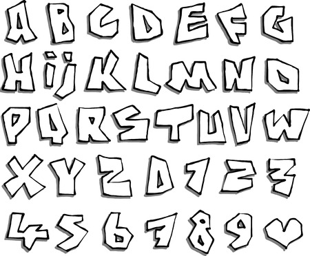 brute: liquid line paper cut font and number alphabet over white Illustration
