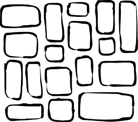 round corner: hand drawn round corner rectangle and square shapes over white