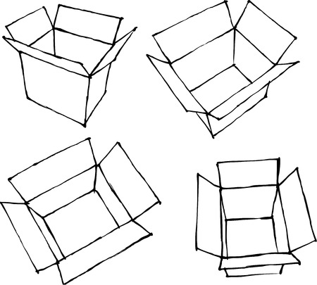 white boxes: hand drawn open white boxes on white