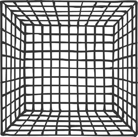 subdivision: hand drawn square futuristic room with subdivision