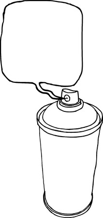 dispensing: spray can hand drawn liquid line on a white background