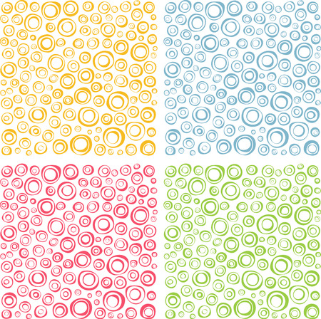 varied: irregular concentric circles pattern set in different colors Illustration