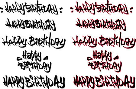 tagged: happy birthday hand drawn text tagged with graffiti fonts