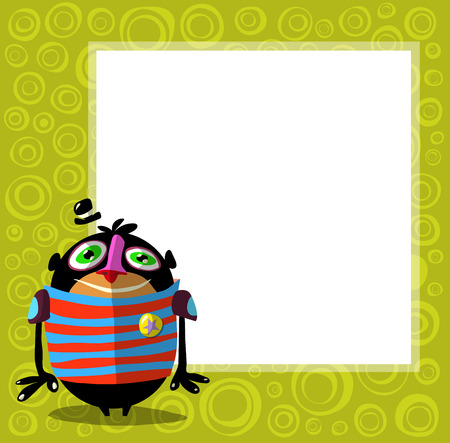 funny creature: funny creature character with hat in front of poster for text Illustration