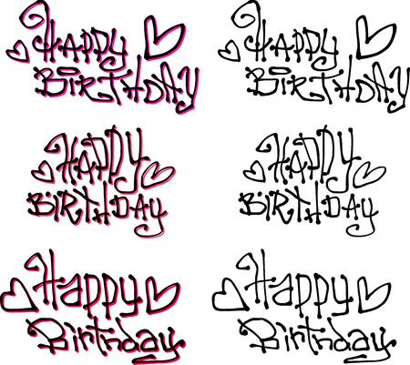 tagging: happy birthday wish hand drawn liquid curly graffiti fonts