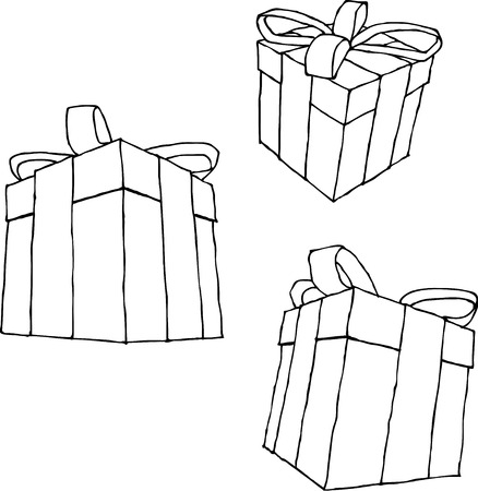 packaged: hand drawn present black liquid line over white Illustration