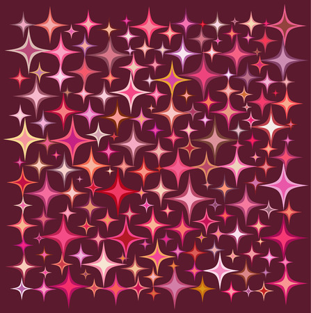 deep pink: pink orange star collection over a deep red backdrop