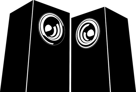 loud speaker: sound-system speaker illustration icon in black and white