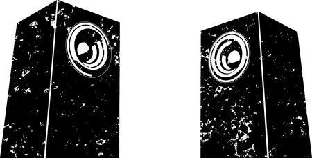 grunge sound-system speaker illustration icon in black and white Illustration