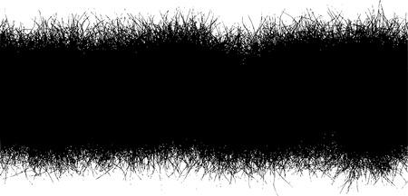 grass line: horizontal black hair furr grass line over white