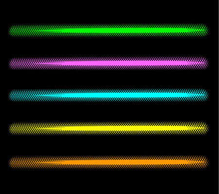 luminosity: tube halftone neon effect in multiple color over black