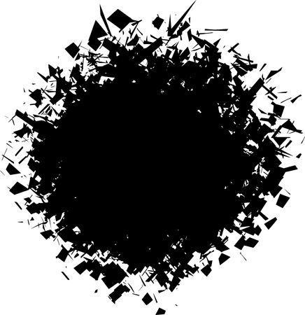 exploded: exploded futuristic round shape in black over white Illustration