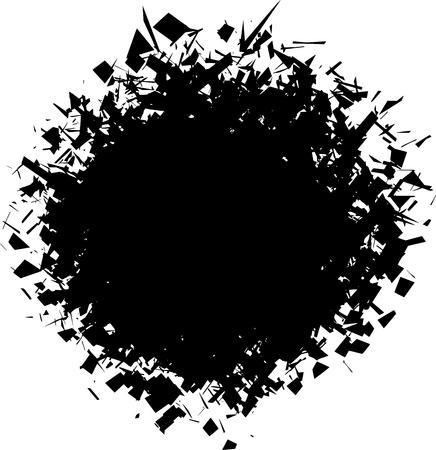 splinter: exploded futuristic round shape in black over white Illustration