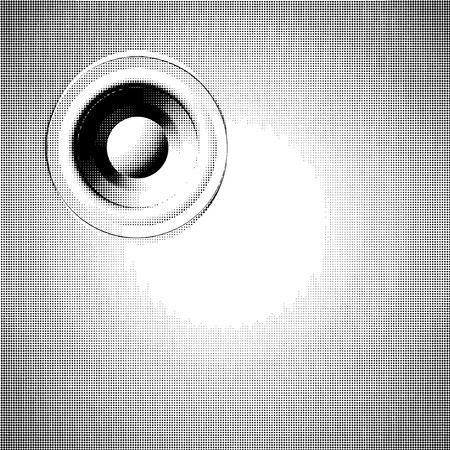 sound-system speaker halftone illustration in black and white