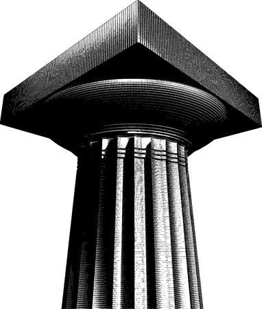 Demi-teinte effet de gravure grec archaïque colonne dorique Banque d'images - 46240605