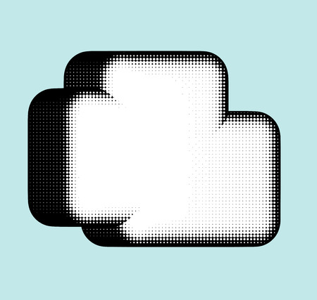 clouded sky: cloud shape in halftone black and white over blue