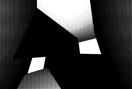 intersect: abstract interior in halftone black and white