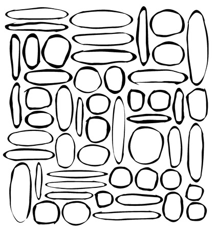 grouping: hand-drawn round and ellipse shapes over white Illustration