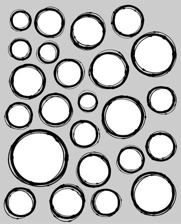 circle shape: hand-drawn liquid line circle shape collection over gray Illustration