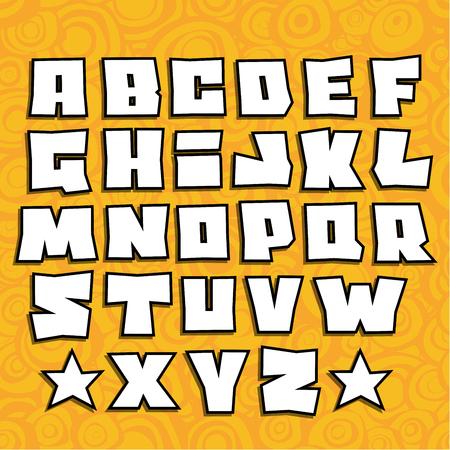 alfabet: graffiti fonts alphabet with shadow on orange background