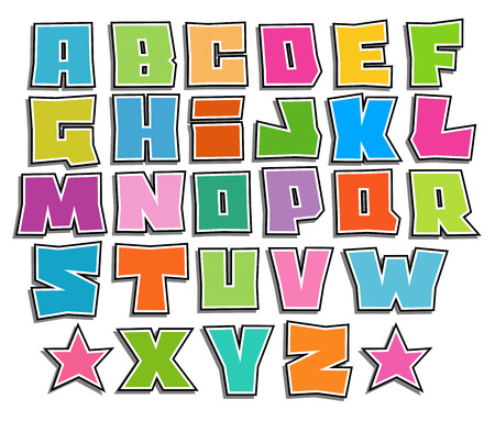 alfabet: graffiti color fonts alphabet with shadow on white