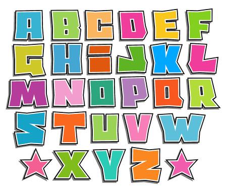 graffiti color fonts alphabet with shadow on white Reklamní fotografie - 47674702