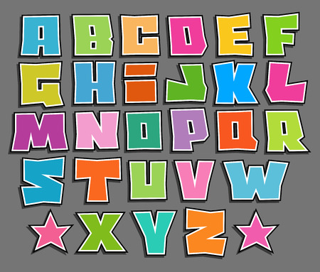 alfabet: graffiti floating vector color fonts alphabet over gray