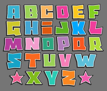 graffiti font color vettoriali galleggiante alfabeto su grigio Vettoriali