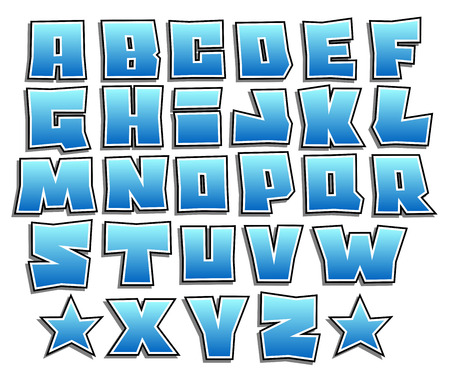blue gradient graffiti fonts alphabet with shadow on white