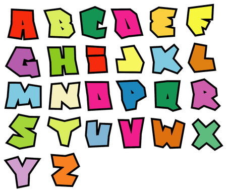 graffiti readable fonts alphabet over white in multiple color
