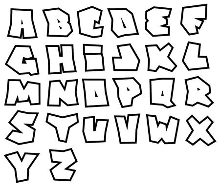 alfabet: graffiti readable fonts alphabet over white