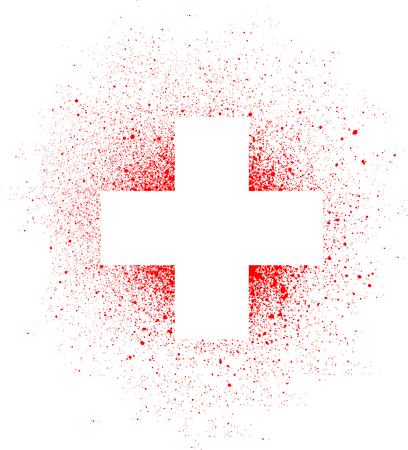 graffiti white cross spray design element in white on red