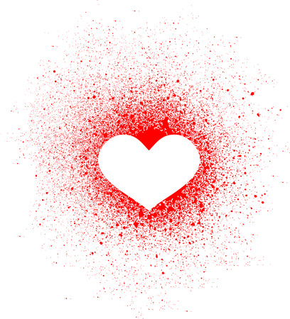 dating icons: graffiti heart spray design element in white on red