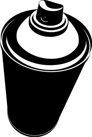 dispensing: graffiti spraycan illustration in black over white