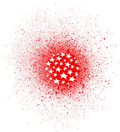 graffiti star spray design element in white on red Ilustrace
