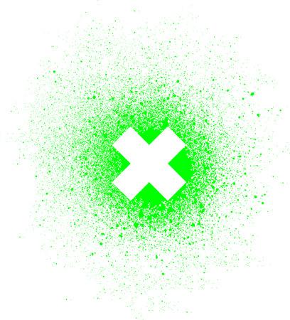 vandalism: graffiti x mark spray design element in white on green