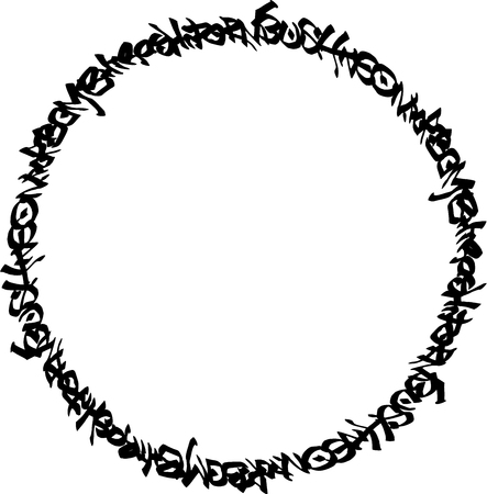 vandalism: circular black graffiti tag pattern on white