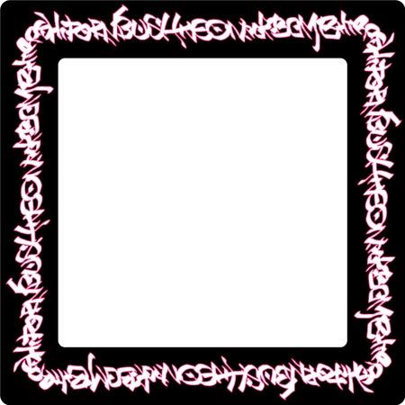 vandalism: square rounded frame pink neon graffiti tags on black Illustration