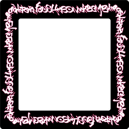 square rounded frame pink neon graffiti tags on black Illustration