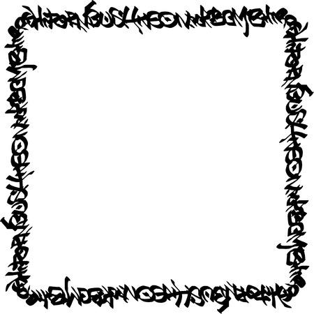 vandalism: square frame black graffiti tag pattern on white