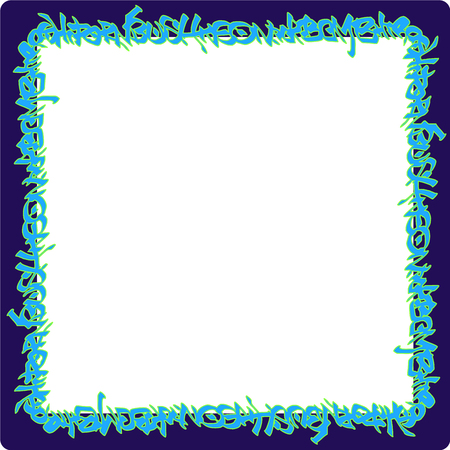 vandalism: square rounded frame blue neon graffiti tags on purple