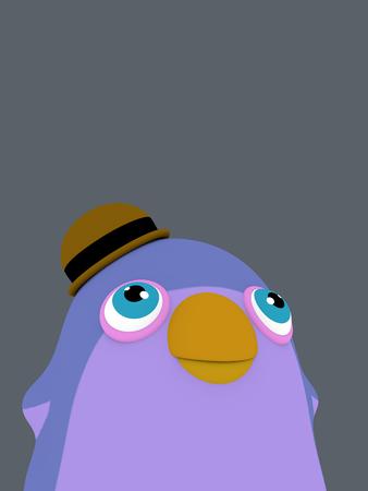 cheerfull: funny cartoon penguin bird with a hat