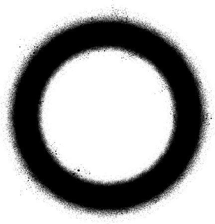 sprayed: graffiti sprayed circle design element in black on white Illustration