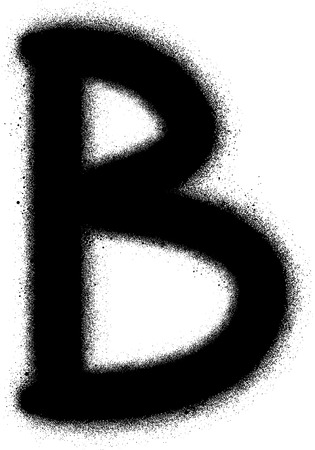alfabet: sprayed B font graffiti in black over white