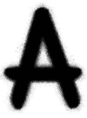 alfabet: sprayed A font graffiti in black over white Illustration