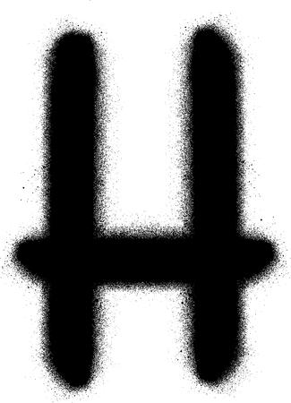 sprayed: sprayed H font graffiti in black over white